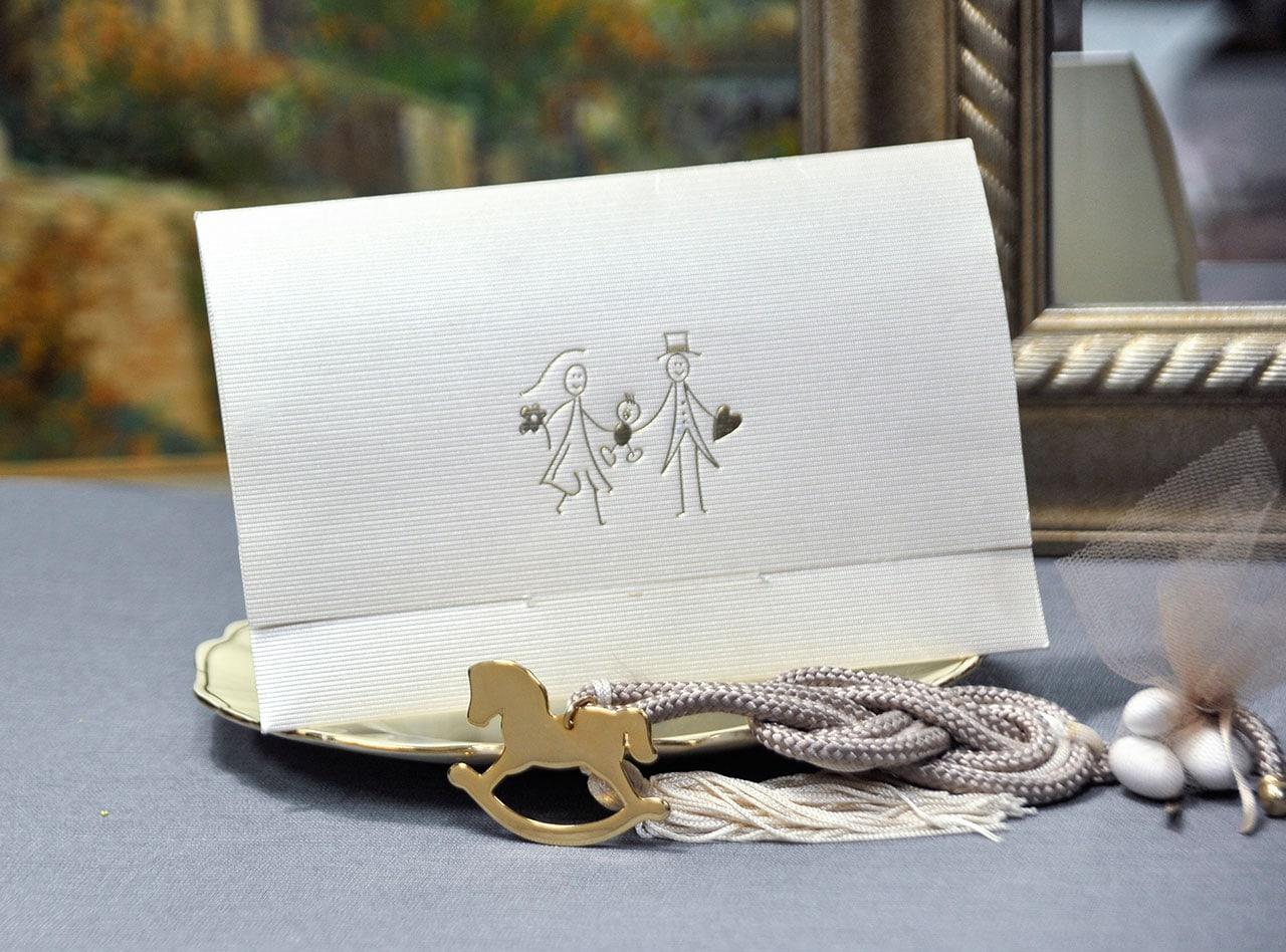 Προσκλητήριο Γάμου-Βάπτισης με εκτύπωση χρυσοτυπίας στον φάκελο