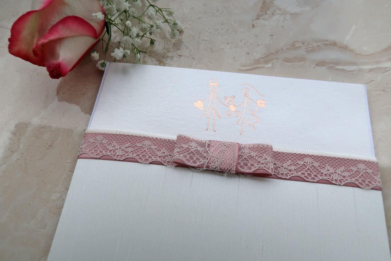 Προσκλητήριο Γάμου & Βάπτισης με ροζ-χρυσή θερμοτυπία και σάπιο μήλο κορδέλες