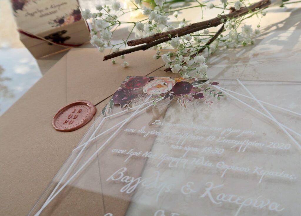 Προσκλητήριο Γάμου σε craft με plexiglass κάρτα